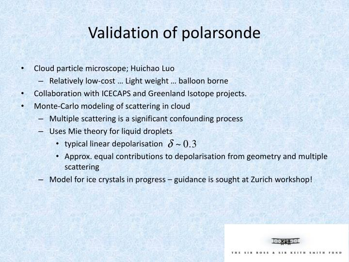 Validation of polarsonde