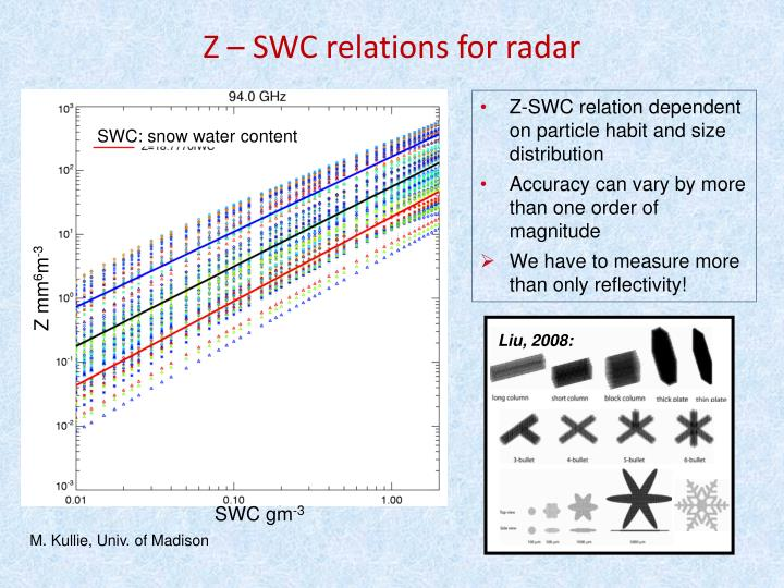Z-SWC relation dependent on particle habit and size distribution