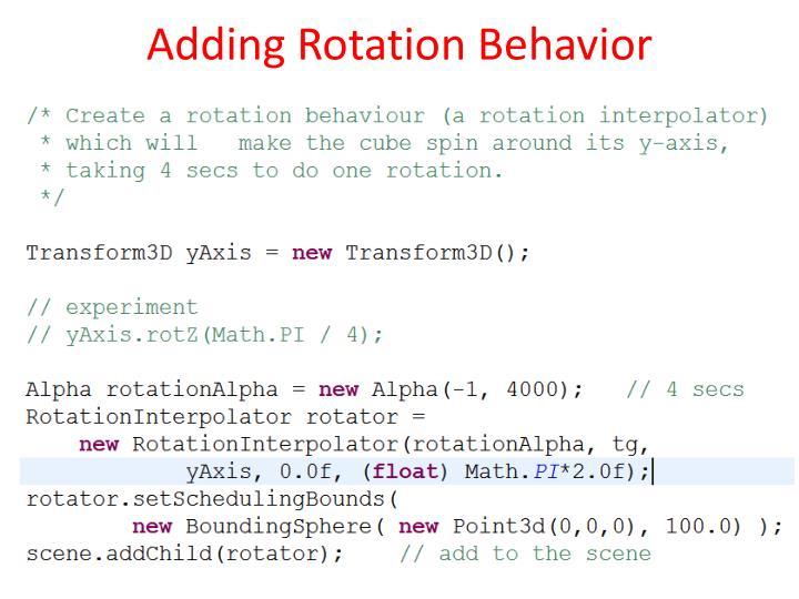 Adding Rotation Behavior