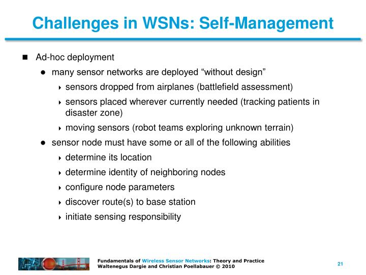 Challenges in WSNs: Self-Management
