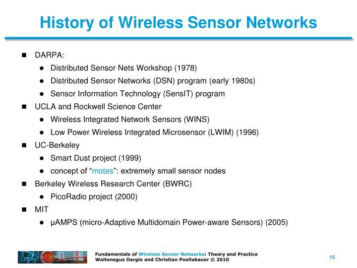 History of Wireless Sensor Networks