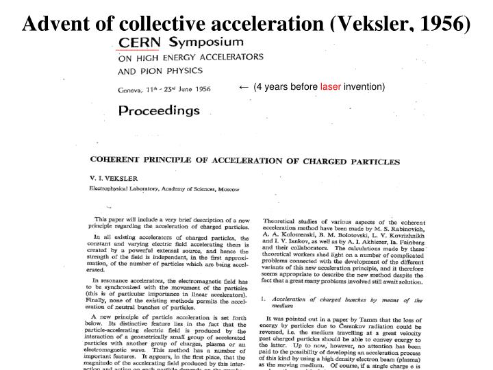 Advent of collective acceleration (Veksler, 1956)