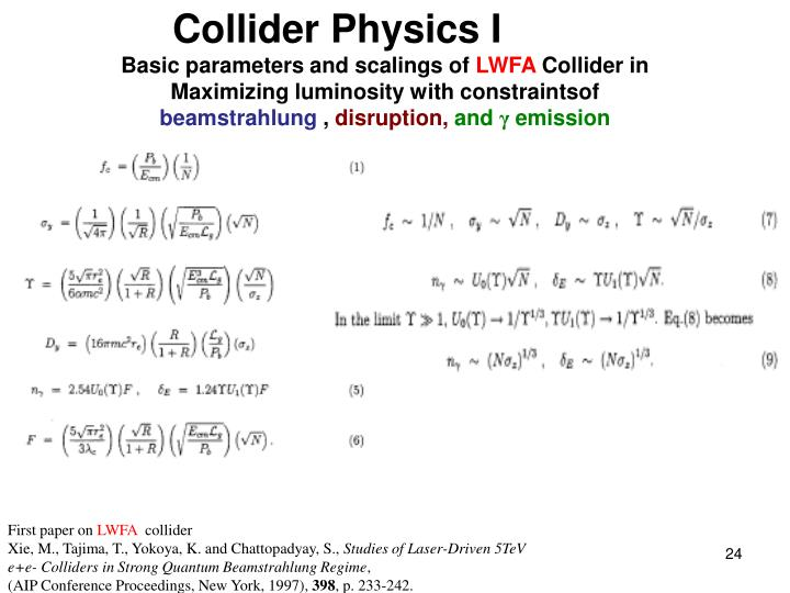 Collider Physics I