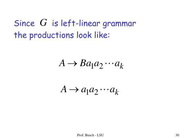 Since       is left-linear grammar