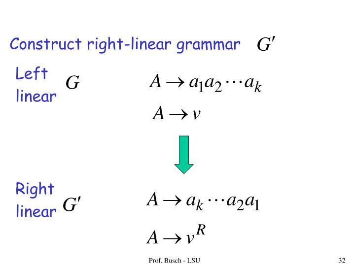 Construct right-linear grammar