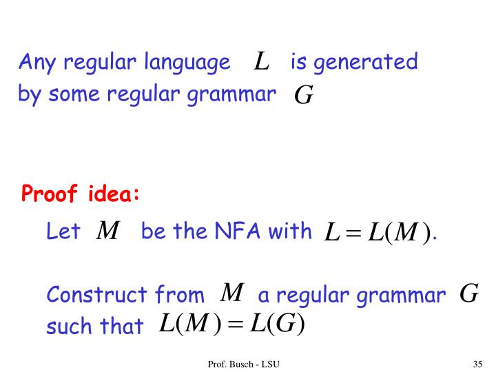 Any regular language         is generated