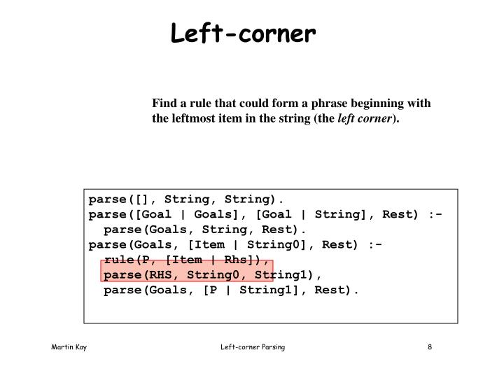 Left-corner