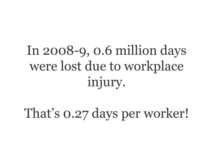In 2008-9, 0.6 million days were lost due to workplace injury.