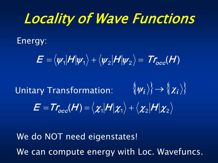 Locality of Wave Functions