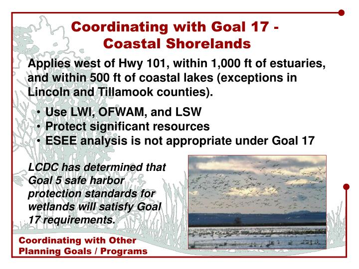 Coordinating with Goal 17 -