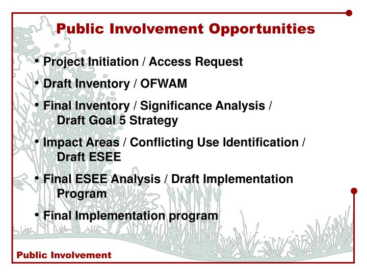 Public Involvement Opportunities