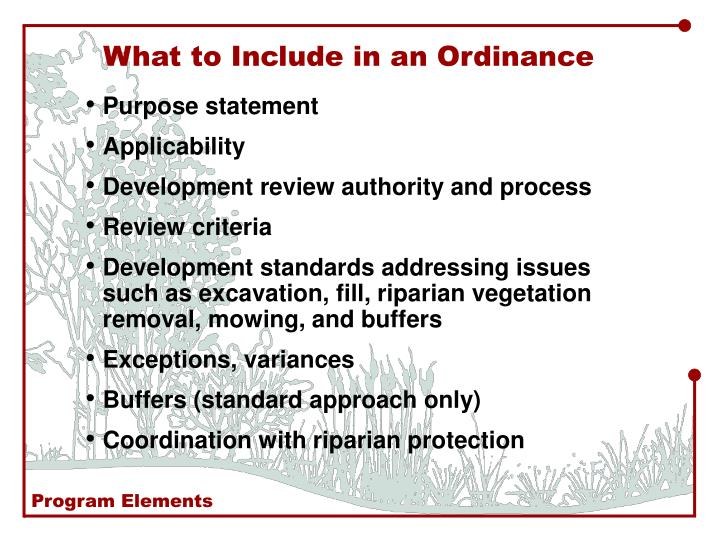 What to Include in an Ordinance