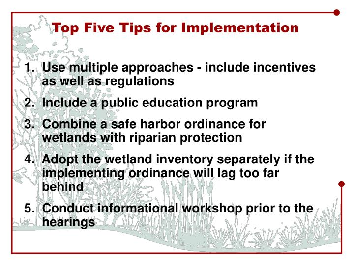Top Five Tips for Implementation