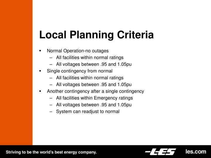 Local Planning Criteria
