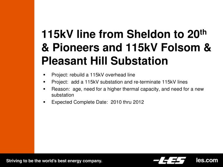 115kV line from Sheldon to 20
