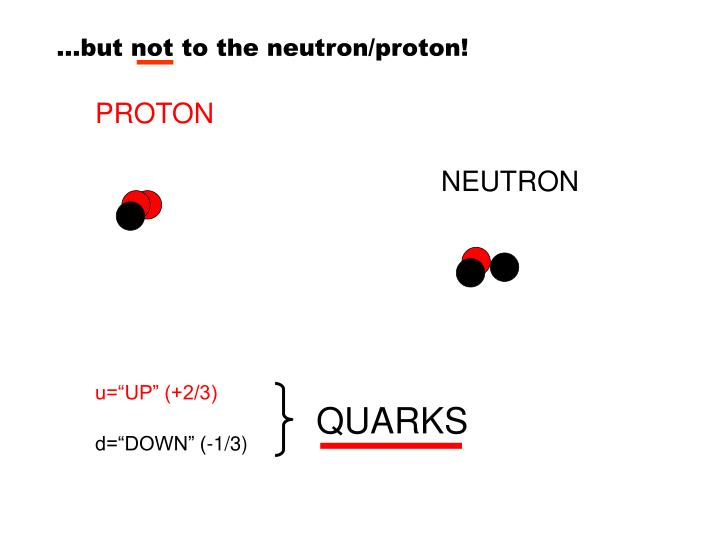 …but not to the neutron/proton!