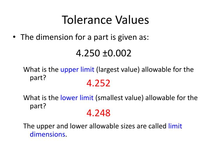 Tolerance values