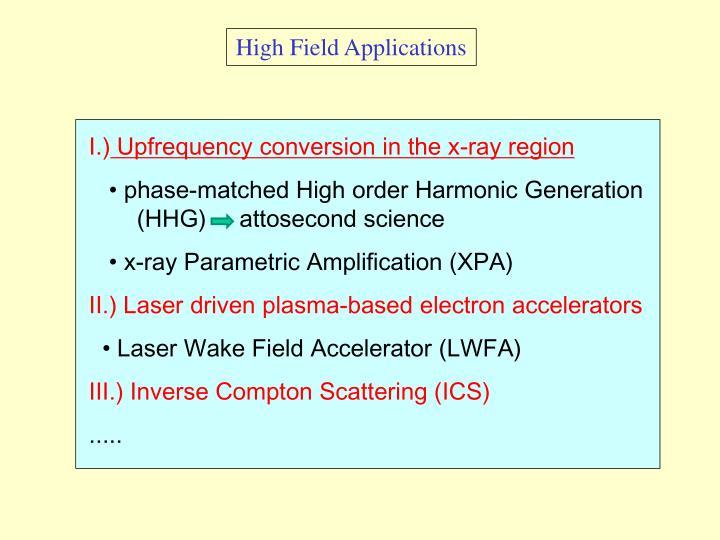 High Field Applications