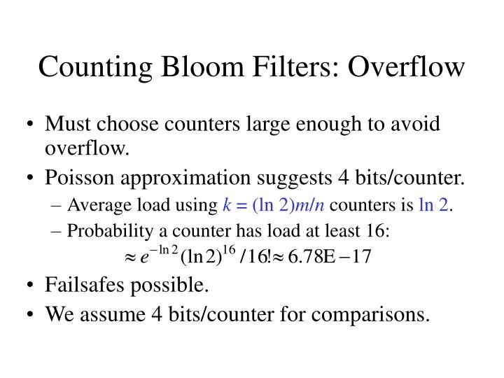 Counting Bloom Filters: Overflow