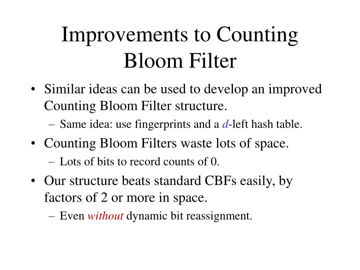 Improvements to Counting Bloom Filter