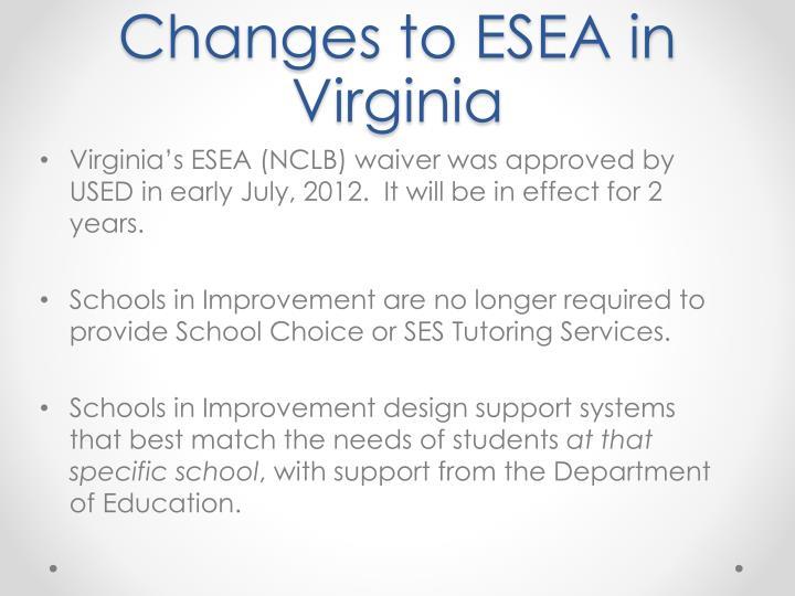 Changes to ESEA in Virginia