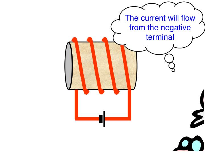 The current will flow from the negative terminal