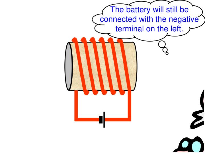 The battery will still be connected with the negative terminal on the left.