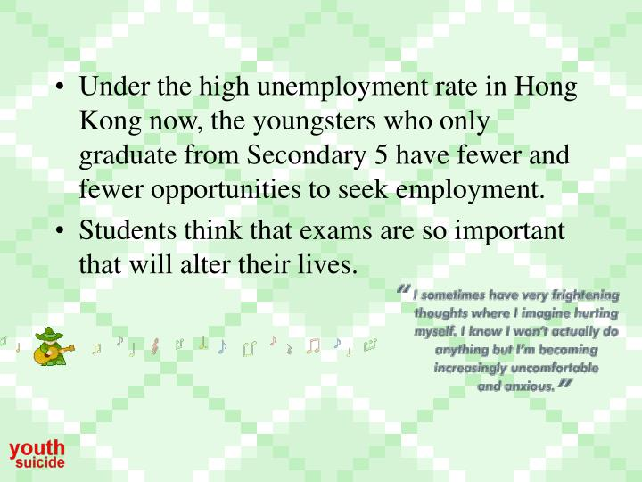 Under the high unemployment rate in Hong Kong now, the youngsters who only graduate from Secondary 5 have fewer and fewer opportunities to seek employment.