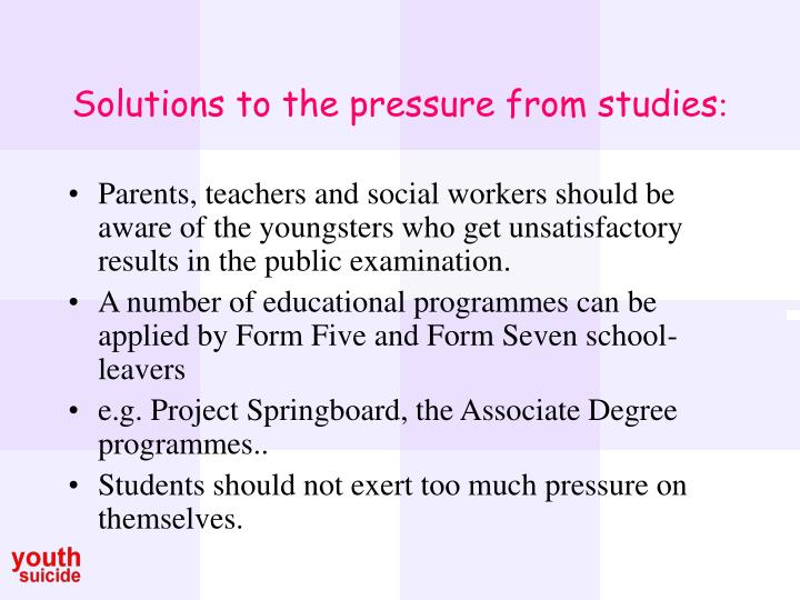 Solutions to the pressure from studies