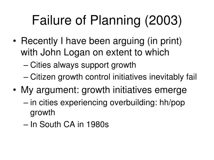 Failure of Planning (2003)