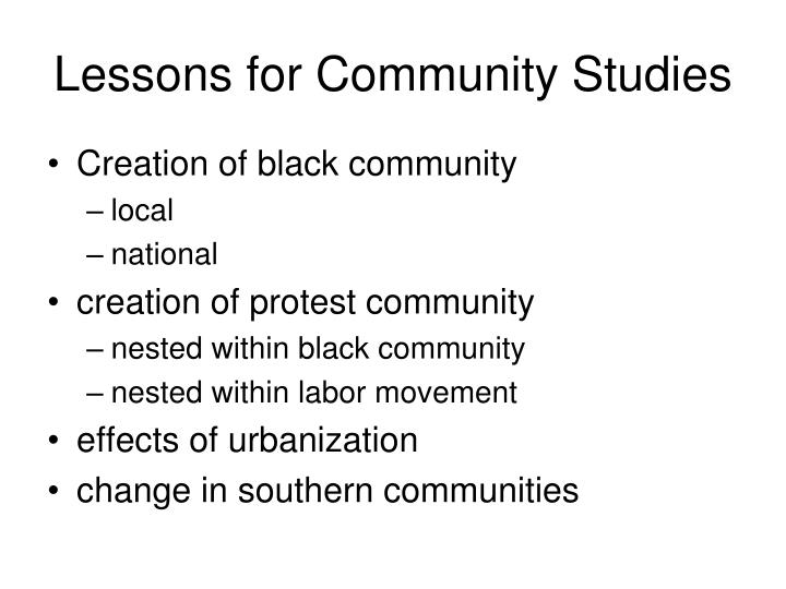 Lessons for Community Studies