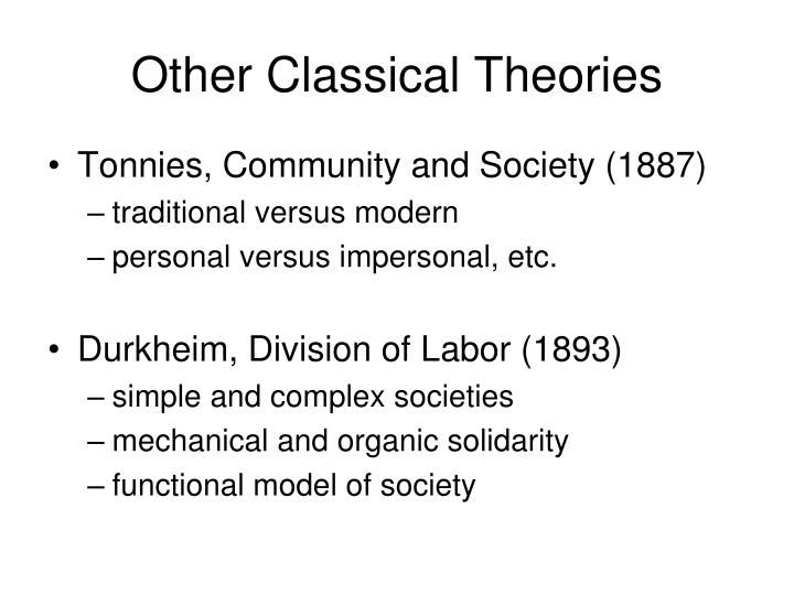 Other Classical Theories