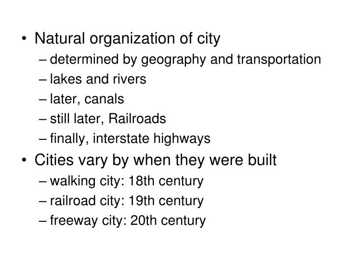 Natural organization of city