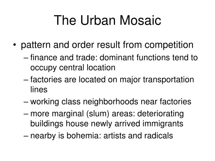 The Urban Mosaic