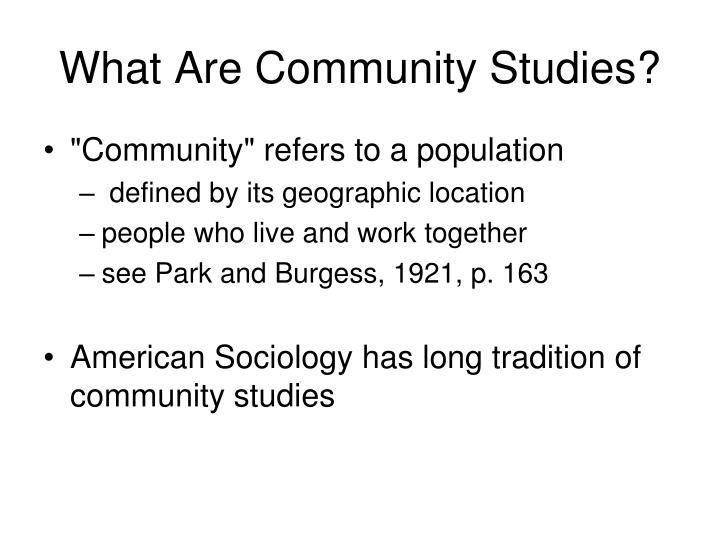 What are community studies