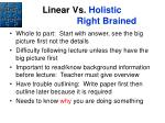 linear vs holistic right brained
