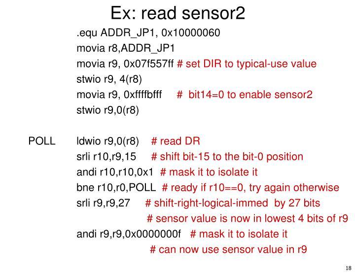 Ex: read sensor2