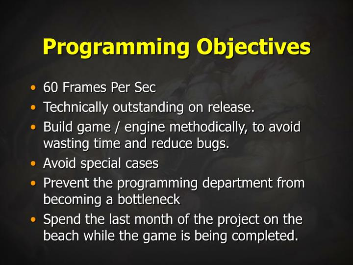 Programming Objectives