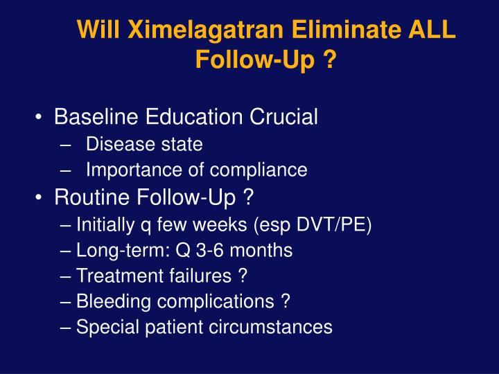 Will Ximelagatran Eliminate ALL Follow-Up ?