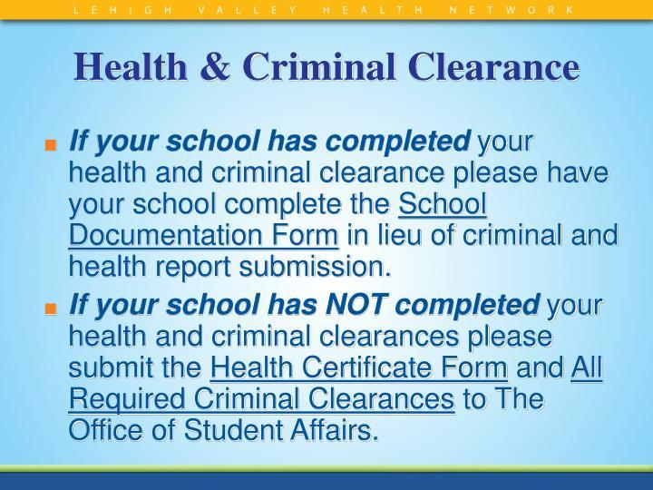 Health & Criminal Clearance
