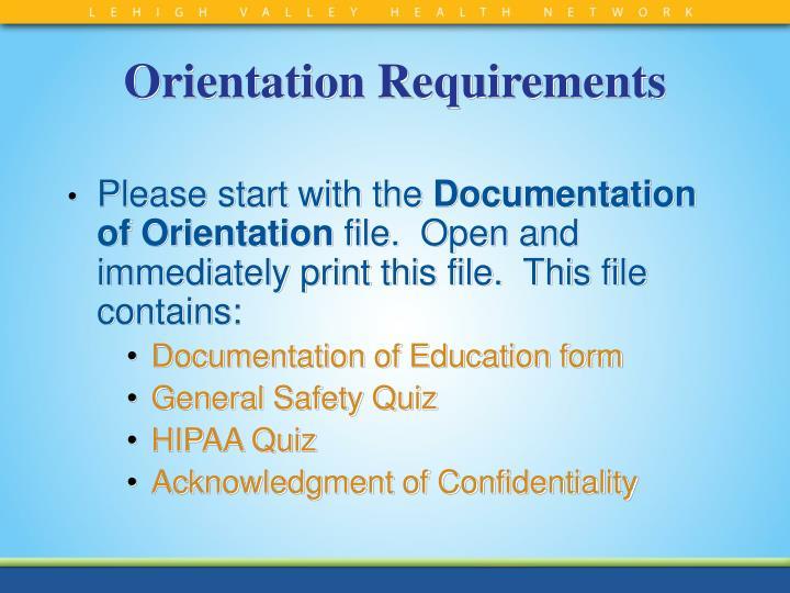 Orientation Requirements