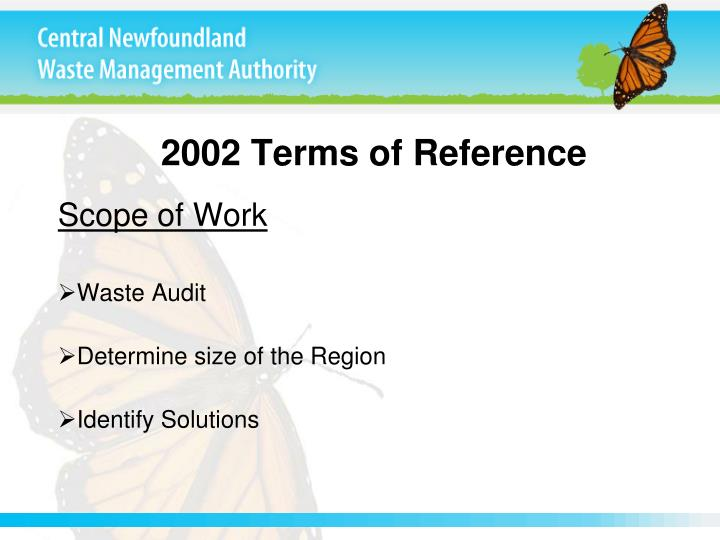 2002 terms of reference