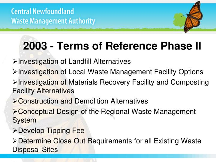 2003 - Terms of Reference Phase II