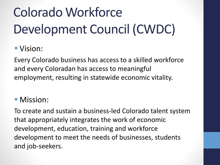 Colorado Workforce Development Council (CWDC)