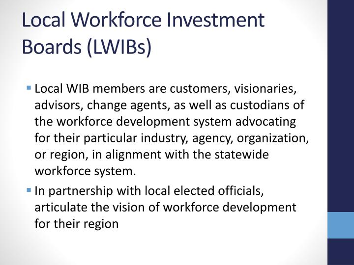Local Workforce Investment Boards (LWIBs)