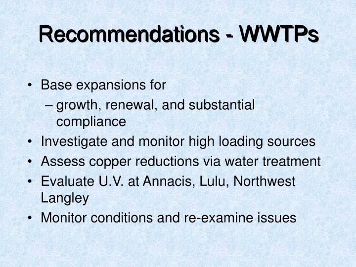 Recommendations - WWTPs