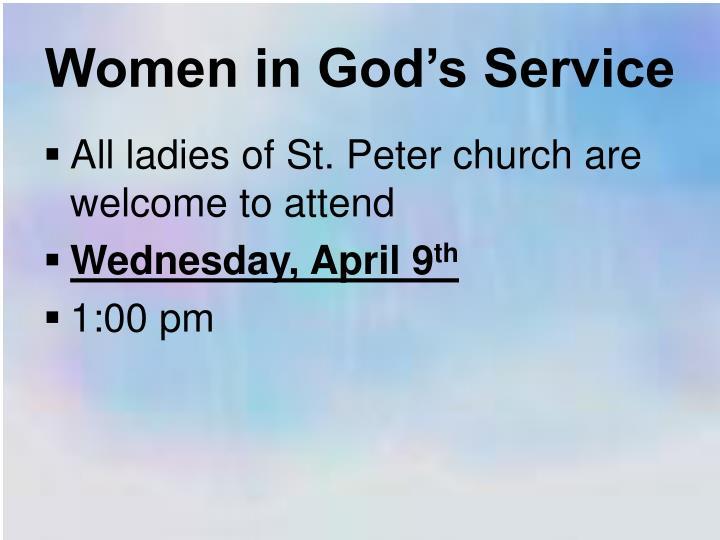 Women in God's Service