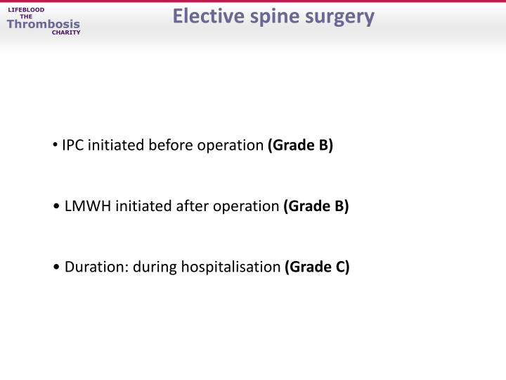 Elective spine surgery