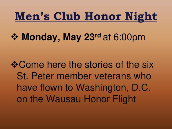 Men's Club Honor Night