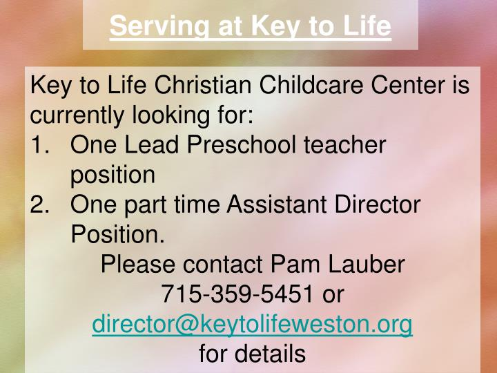 Serving at Key to Life